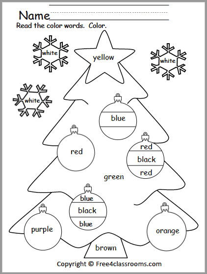436 Christmas Color Words Tree