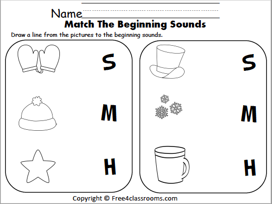 Free Winter Beginning Sounds Matching - Free4Classrooms
