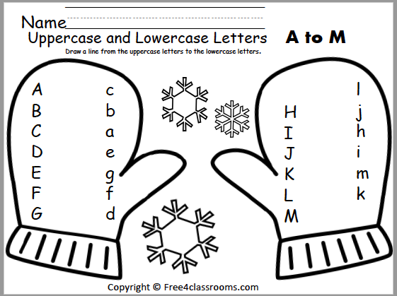 Free Winter Alphabet Matching Worksheet (A To M) - Free4Classrooms