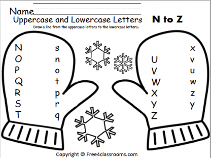 Free Winter Alphabet Matching Worksheets (N To Z) - Free4Classrooms