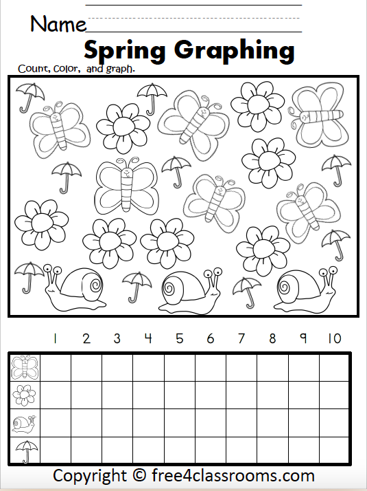 Free Kindergarten Graphing Worksheet For Spring - Free4Classrooms
