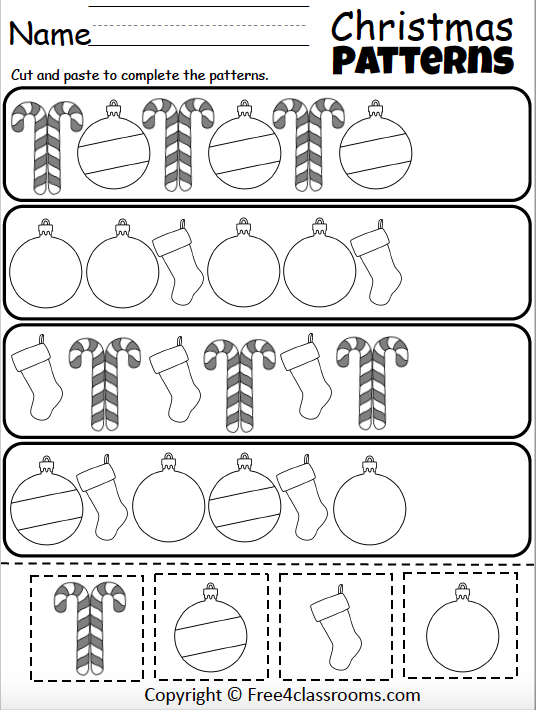 Free Christmas Pattern Worksheet - Cut And Paste - Free4Classrooms