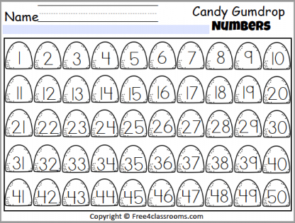 465 Candy Numbers Chart 1 to 50