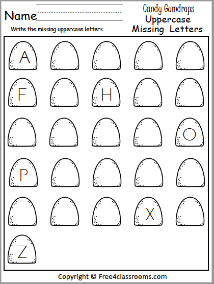Free Christmas Write The Missing Uppercase Letters - Free4Classrooms