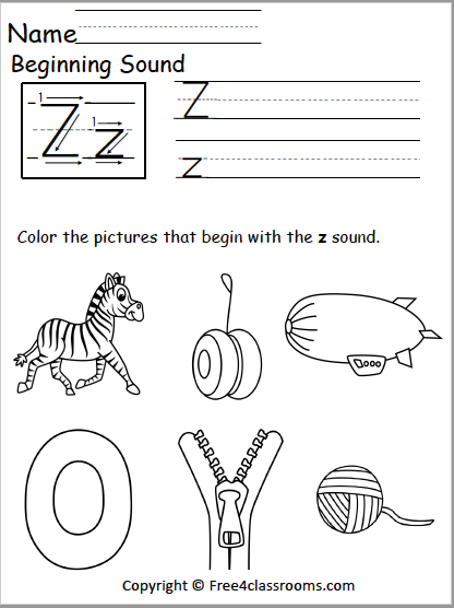 522 Beginning Sound Z Worksheet