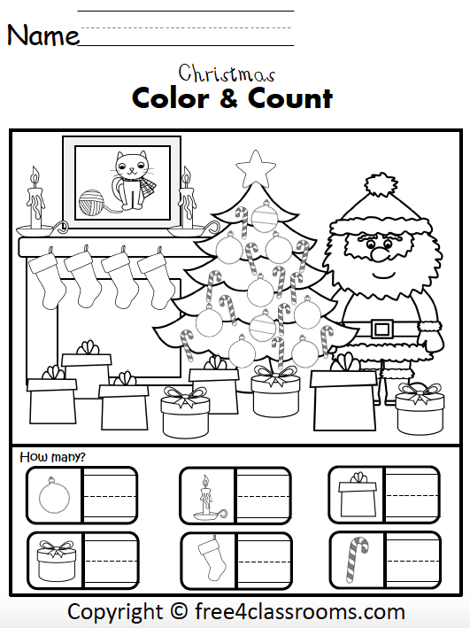 Free Christmas Numbers Math Worksheets For Kindergarten - How Many? -  Free4Classrooms