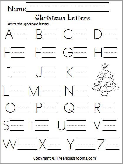 Free Christmas Uppercase Letter Writing Worksheet - Free4Classrooms