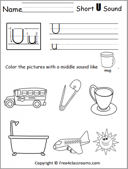 434 Short U Sound Worksheet