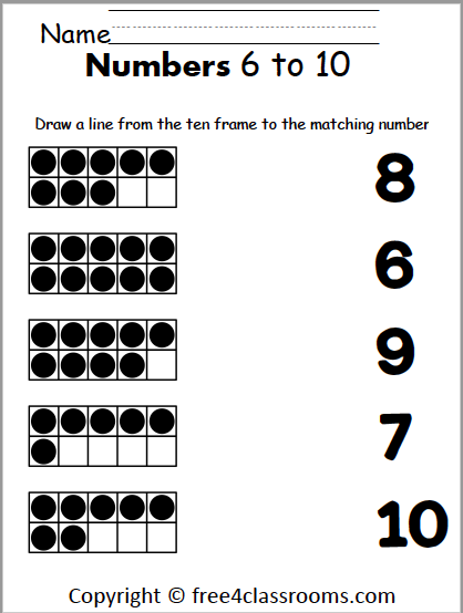 Free Number Matching Worksheet - 6 To 10 - Free4Classrooms