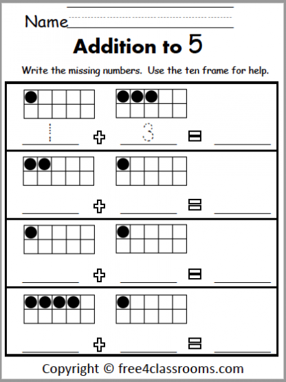 449 Addition to 5 ten frames
