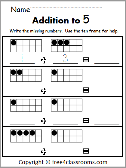 Free Addition Worksheets For Kindergarten - Up To 5 - Free4Classrooms
