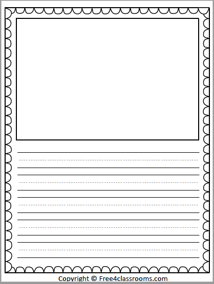 Free Primary Lined Writing Paper With Drawing Art Box - Free4Classrooms