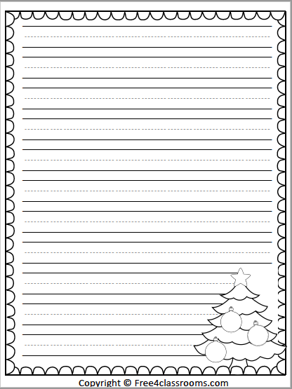 481 Christmas Tree Primary Writing Paper