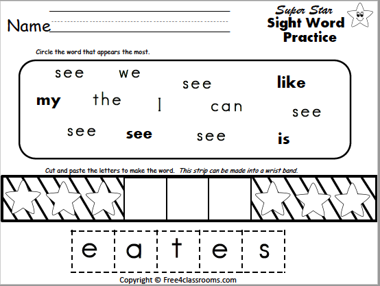 Free Sight Word Worksheet (see) - Free4Classrooms