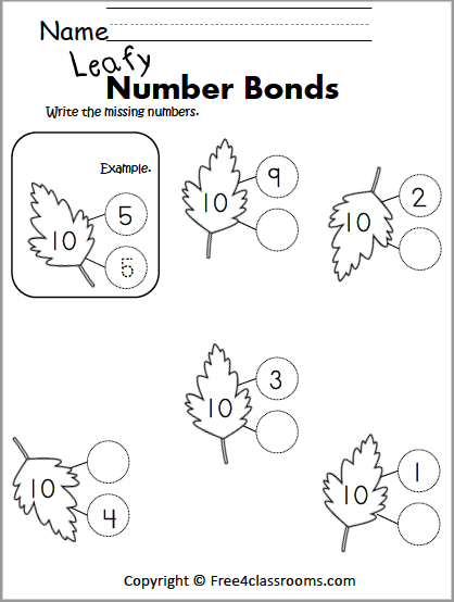 Free Number Bonds Worksheet - Fall Or Spring Leaves - Make 10 -  Free4Classrooms