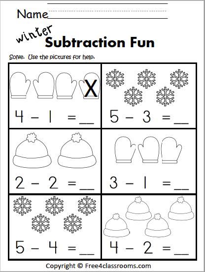 556 Winter Subtraction Kindergarten