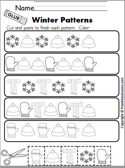 587 winter pattern math page