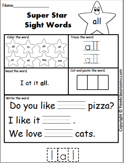 612 Star Sight Word all
