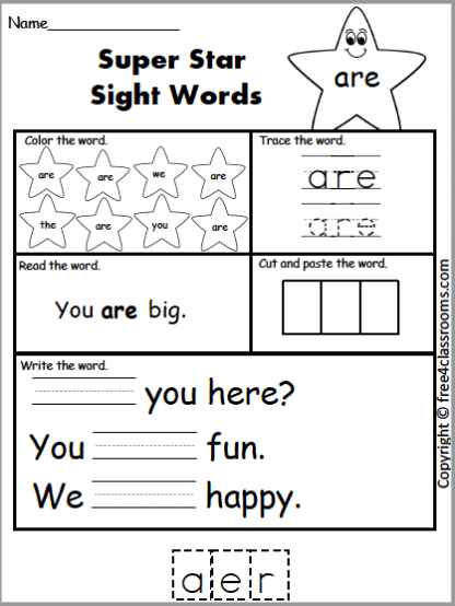 614 Star Sight Word are