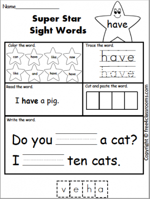 615 Star Sight Word have