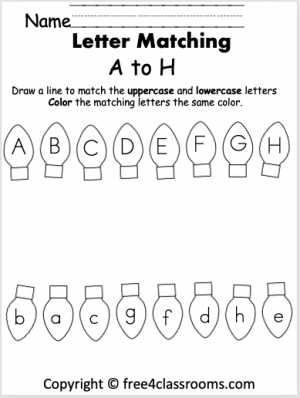 free Christmas letter matching A to H