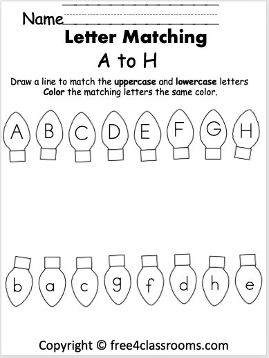 Free Christmas Letter Matching Worksheet A To H Free4classrooms