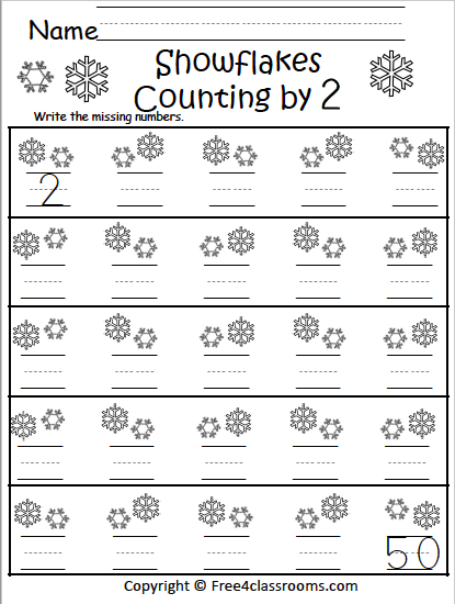 Free Winter Math Worksheets - Snowflakes Skip Counting By 2s -  Free4Classrooms