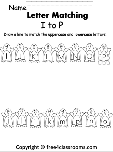 Free Alphabet Letter Matching Penguins - I to P