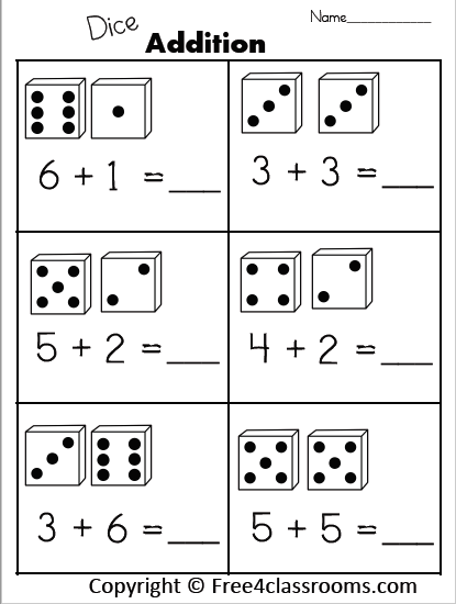 1 digit addition free 4 classrooms worksheet