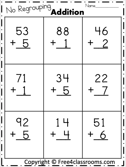 2 Digit Addition Free Worksheets free4classrooms