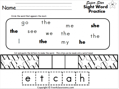501 Free Sight Word worksheet the