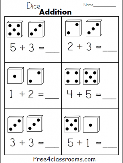 Dice Addition 1 Digit a