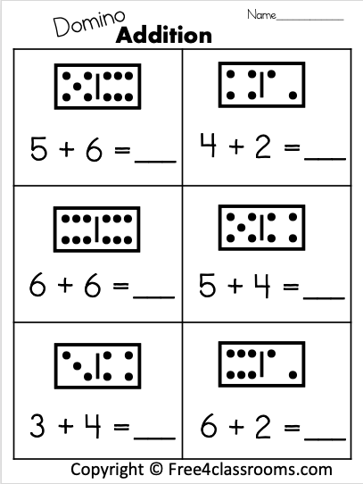 free 1 digit math worksheets at free4classrooms