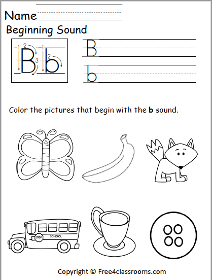 free beginning sounds worksheet letter b free4classrooms. Black Bedroom Furniture Sets. Home Design Ideas
