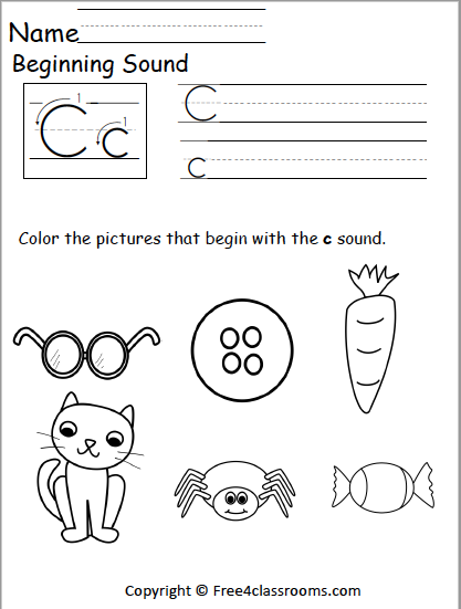 Free Beginning Sounds Worksheet - Letter C - Free4Classrooms