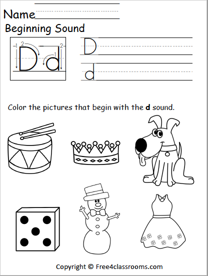 499 Free Beginning Sounds Worksheet free4classrooms
