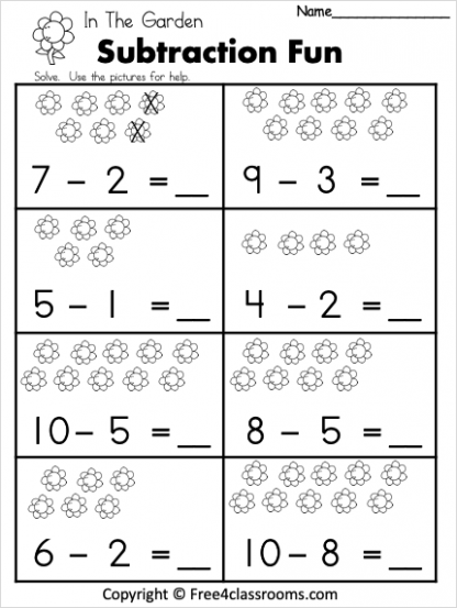 Free 1 Digit Spring Subtraction Worksheet Free4Classrooms 1