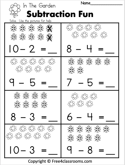 Free 1 Digit Spring Subtraction Worksheet Free4Classrooms 2