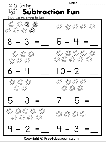 Free 1 Digit Spring Subtraction Worksheet Free4Classrooms