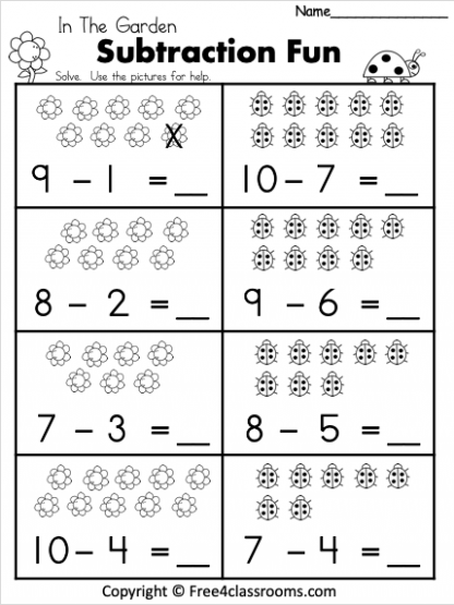Free 1 Digit Spring Subtraction Worksheets Free4Classrooms