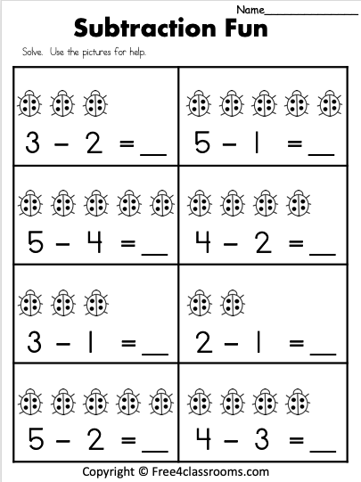 Free 1 Digit Subraction Worksheet Free4Classrooms