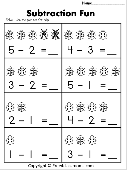 Free 1 Digit Subtraction Free4classrooms