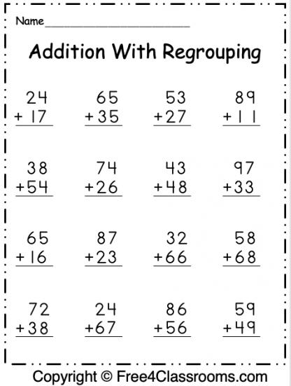 Free Addition 2 Digit Worksheet 1