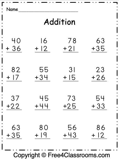 Free Addition 2 Digit Worksheet 3