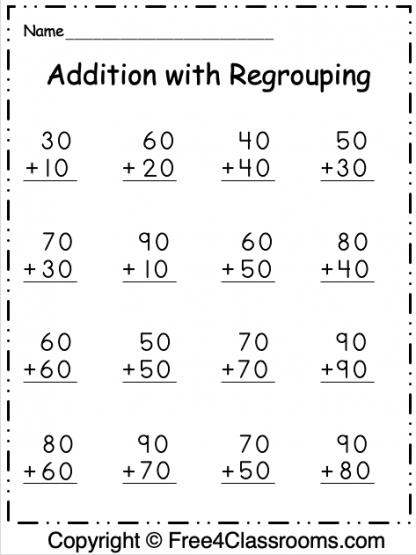 Free Addition 2 Digit Worksheet 4