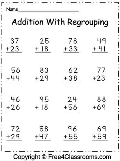 Free Addition 2 Digit Worksheet