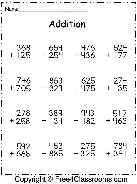 Free Addition 3 Digit Worksheet 1