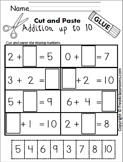 Free Addition Worksheet Cut Paste Free4classrooms
