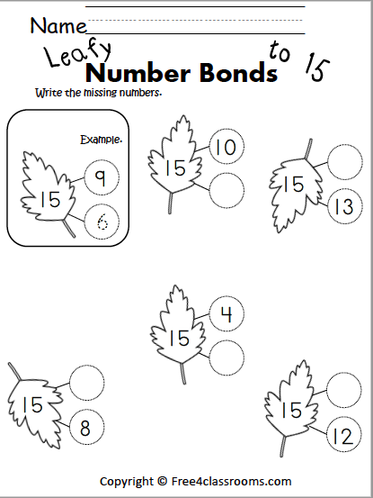 Free Addition Worksheets Number Bonds Free4Classrooms