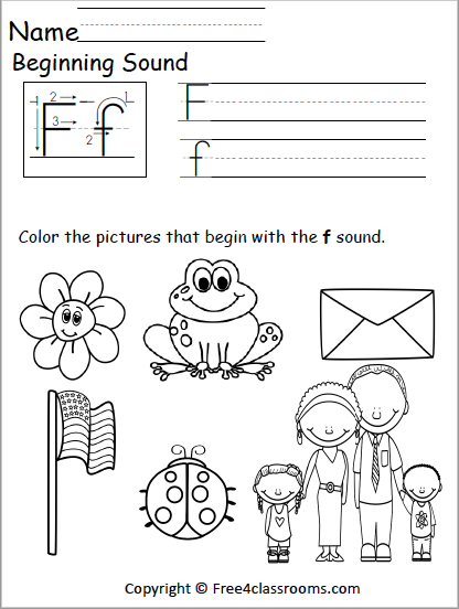 Free Beginning Sounds Worksheet - Letter F - Free4Classrooms